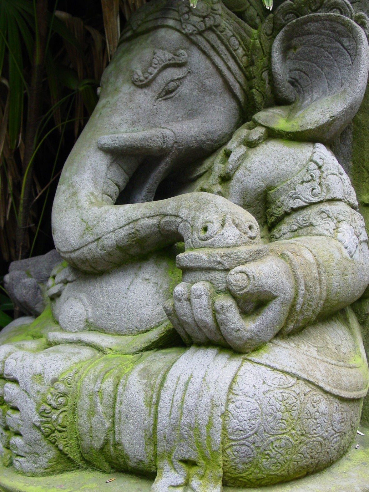 Ganesha statue with moss