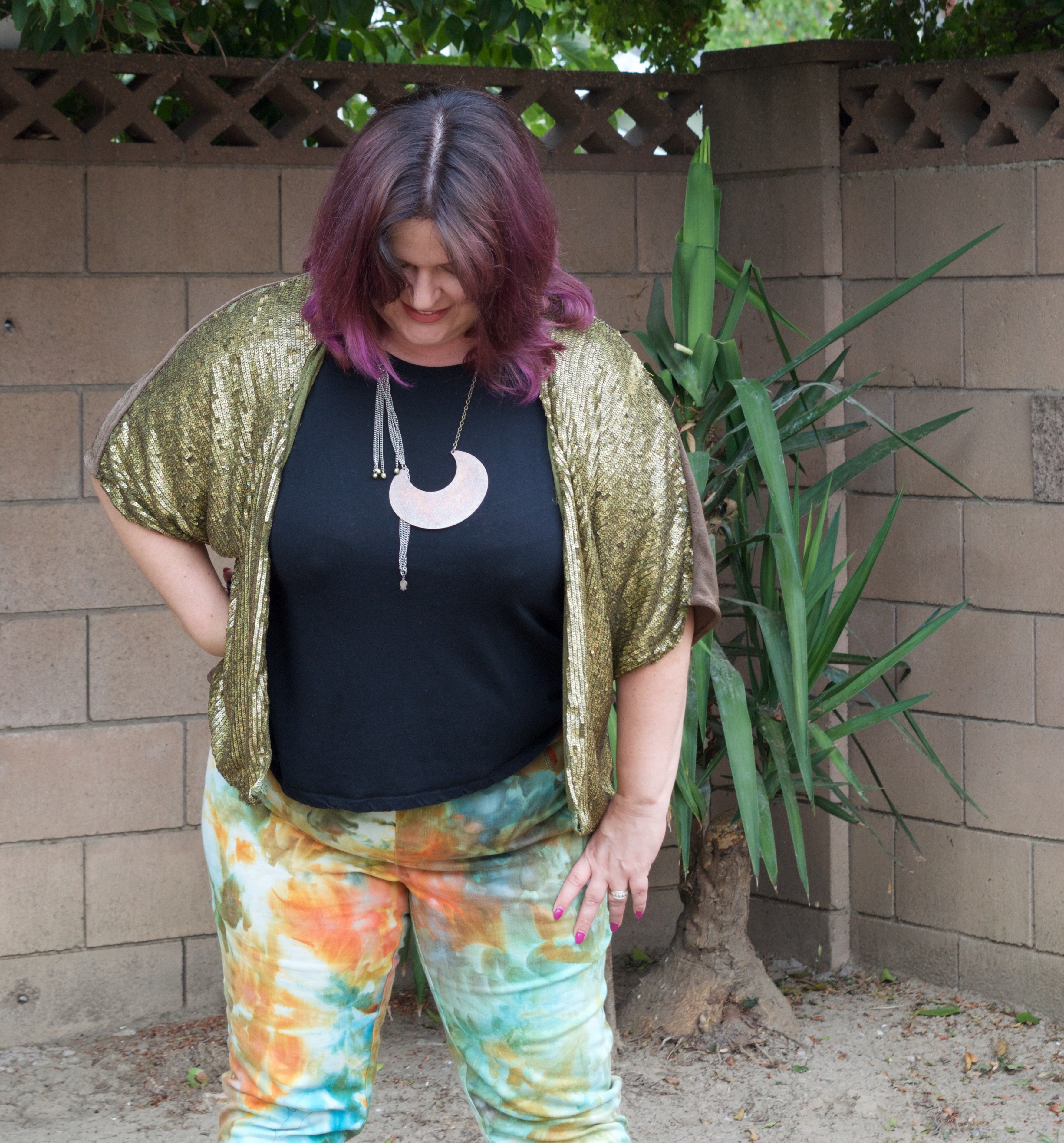 Sequin jacket and icedyed jeans